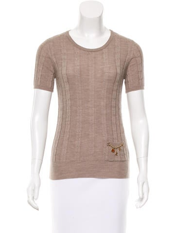 Louis Vuitton Cable Knit Wool Top None