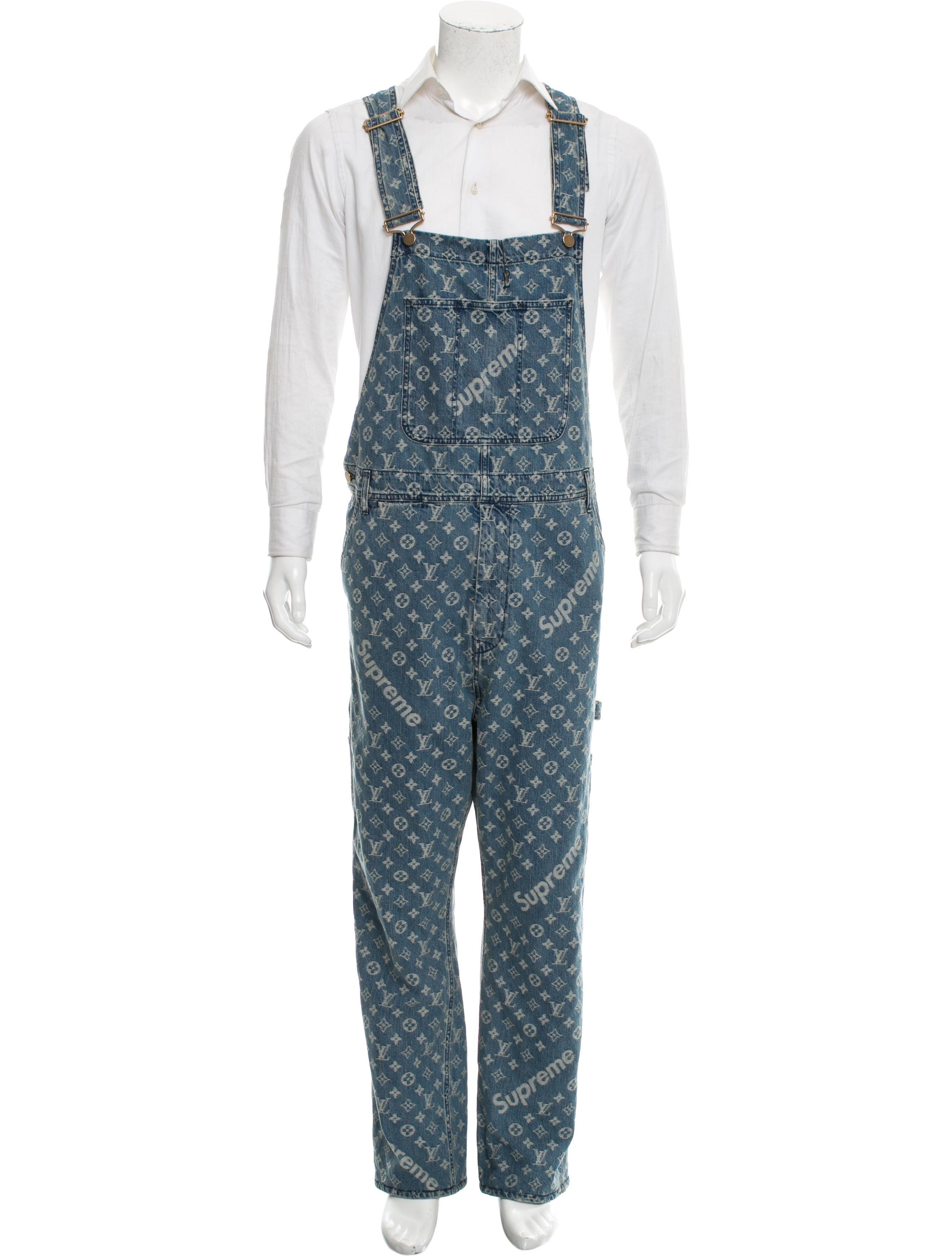 ec3f5558332 Louis Vuitton x Supreme 2017 Jacquard Denim Overalls w/ Tags ...