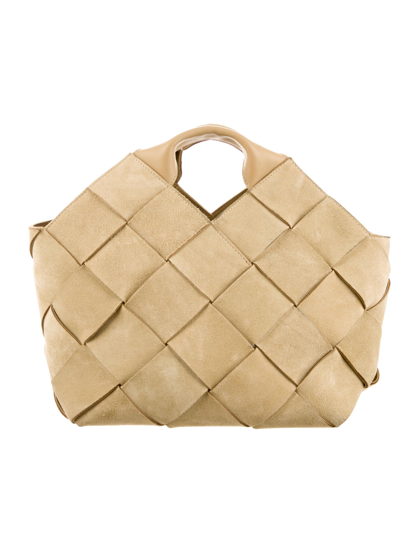 Loewe Basket Weave Suede Handle Bag - Handbags - LOW20989