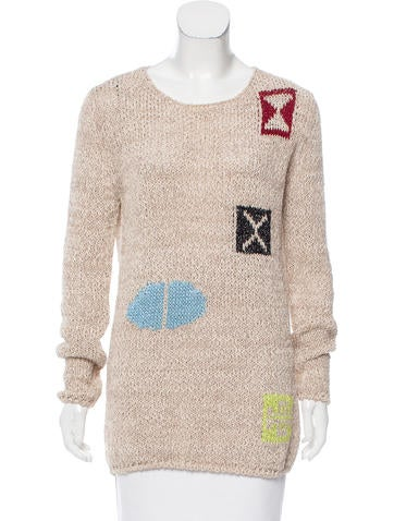 Loewe Patterned Linen-Blend Sweater None