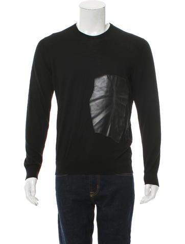Loewe Vegan Leather-Trimmed Wool Sweater None