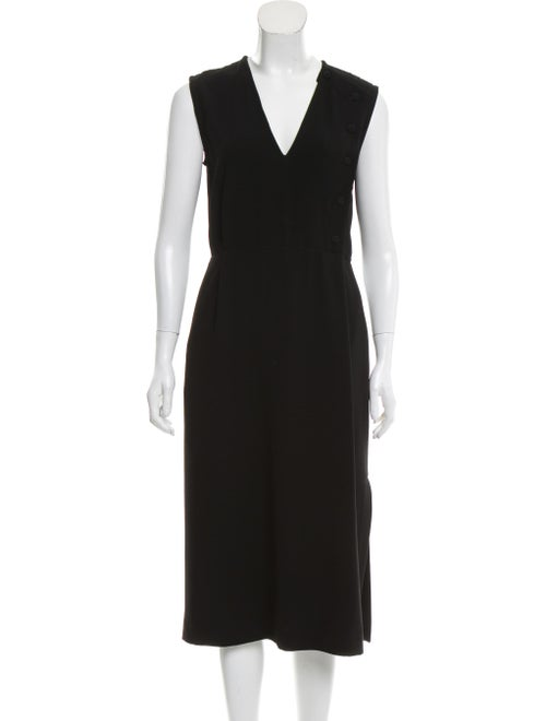 Loewe V-Neck Mid Dress Black