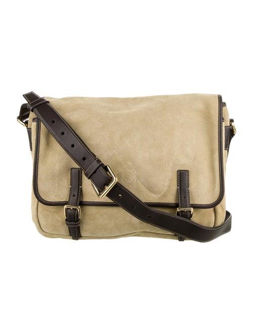 Loewe Leather-Trimmed Messenger Bag Gold