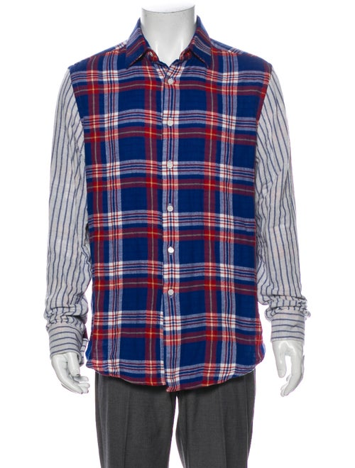 Loewe Plaid Print Long Sleeve Dress Shirt Blue