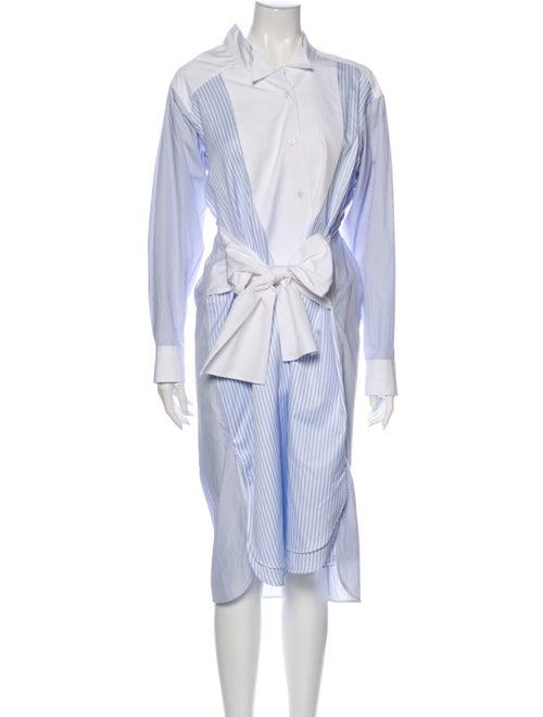 Loewe Striped Shirtdress Midi Length Dress Blue