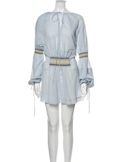 Loewe Crew Neck Mini Dress Blue