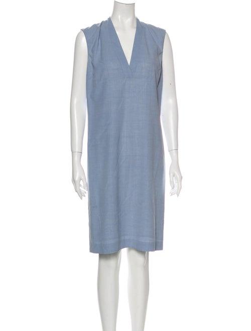 Loewe Silk Knee-Length Dress Blue