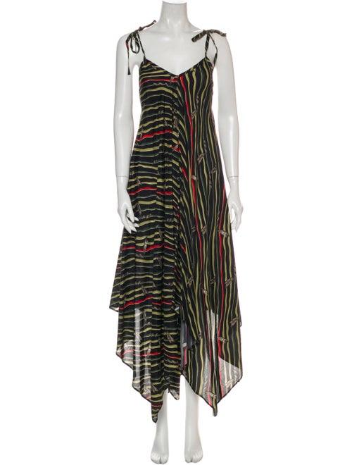 Loewe Striped Long Dress Black