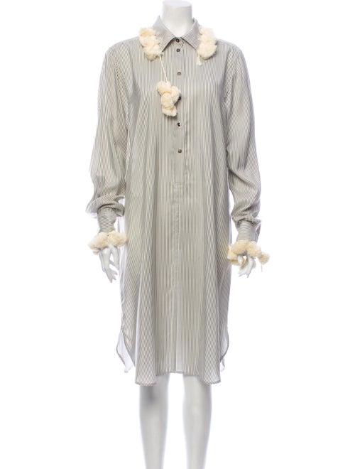 Loewe Striped Midi Length Dress Grey