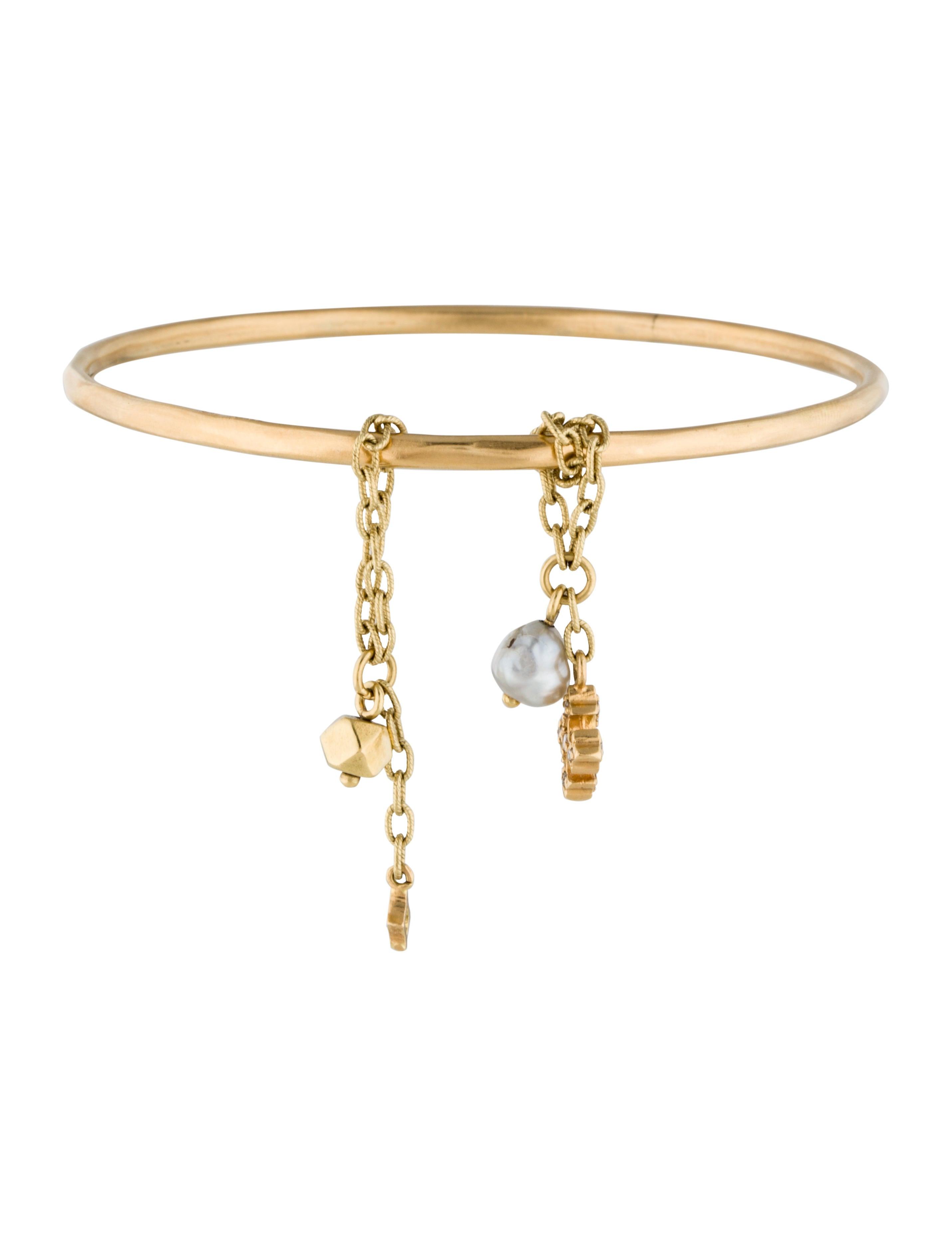 Loree rodkin 18k sliding pearl and diamond charm bracelet for Garcia s jewelry bench