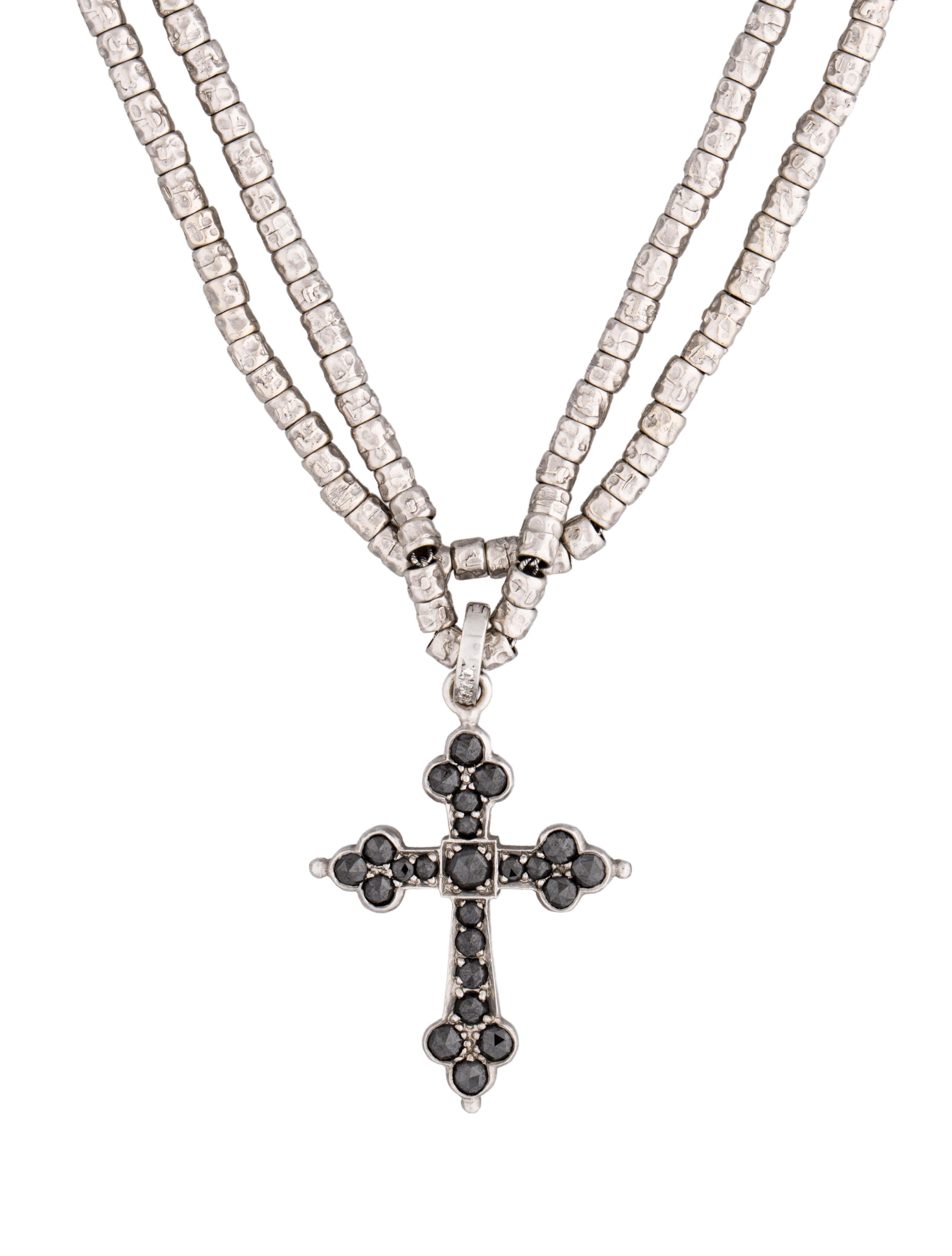 Loree Rodkin Black Diamond Cross Pendant Necklace Necklaces
