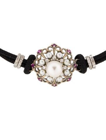 Lorraine Schwartz Pearl, Pink Sapphire and Diamond Cord ...