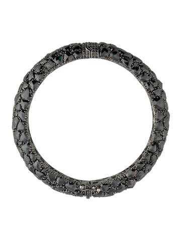 Rose Cut Black Diamond Hinged Bracelet