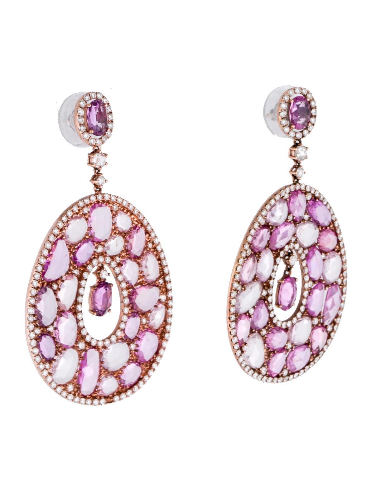 Real pink diamond earrings