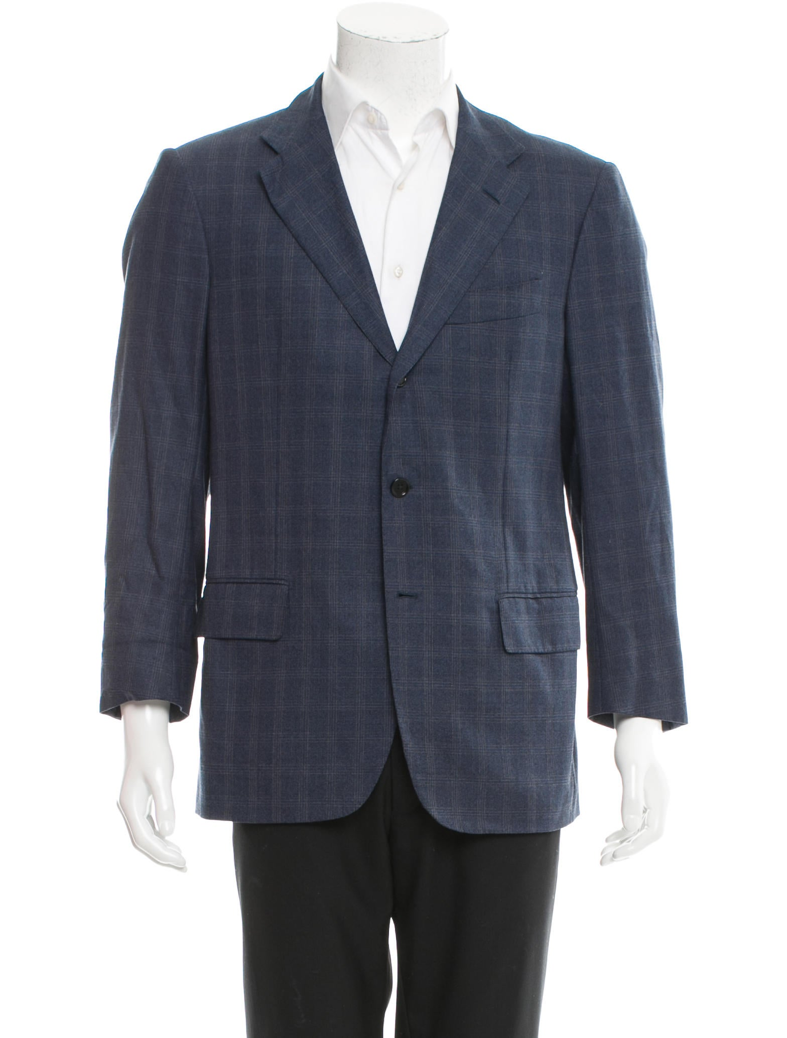 Luciano Barbera Plaid Wool Blazer