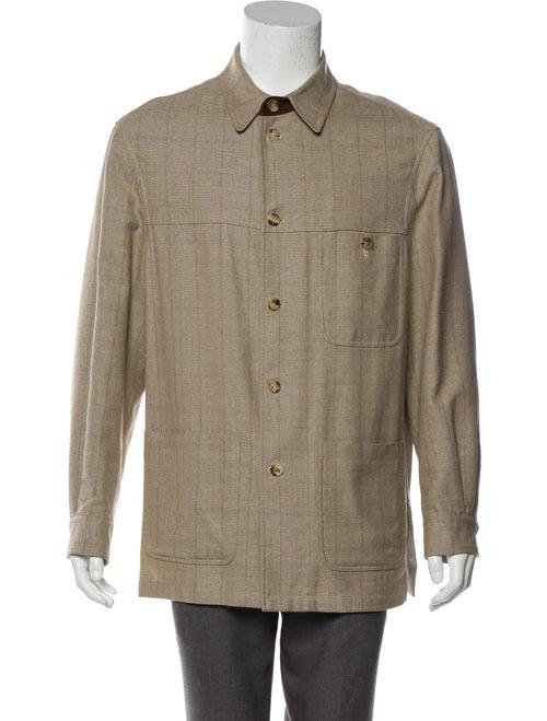 Luciano Barbera Wool & Silk-Blend Shirt Jacket tan