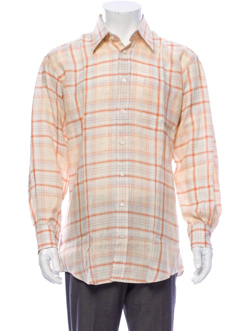 Luciano Barbera Linen Plaid Print Shirt w/ Tags Or