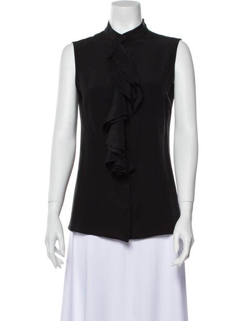 Luciano Barbera Silk Mock Neck Blouse Black