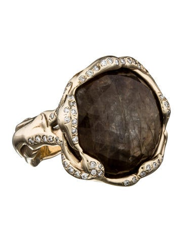 Brown Sapphire & Diamond Ring