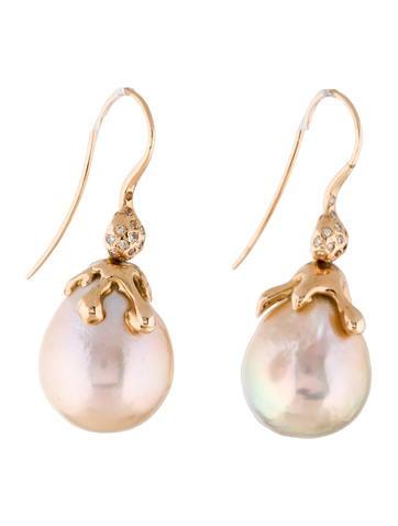 18K Pearl & Diamond Drop Earrings