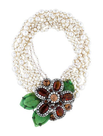 Lawrence Vrba Faux Pearl Crystal Flower Necklace