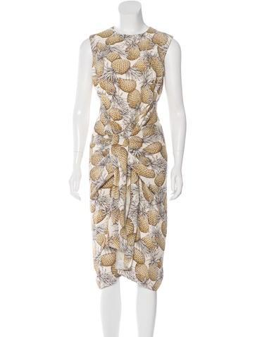 Lyn Devon Silk Pineapple Print Dress None