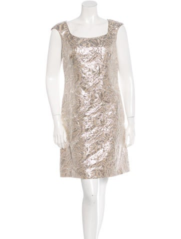 Marchesa Metallic Brocade Shift Dress