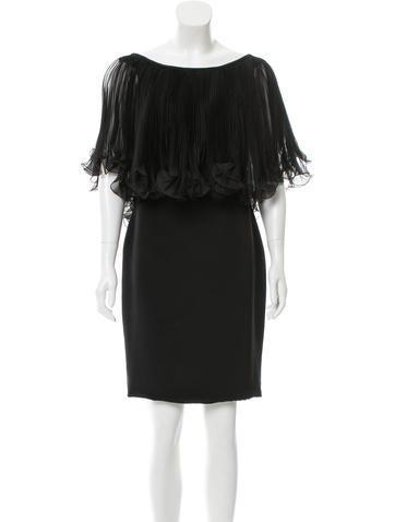 Marchesa Silk Ruffle-Accented Dress