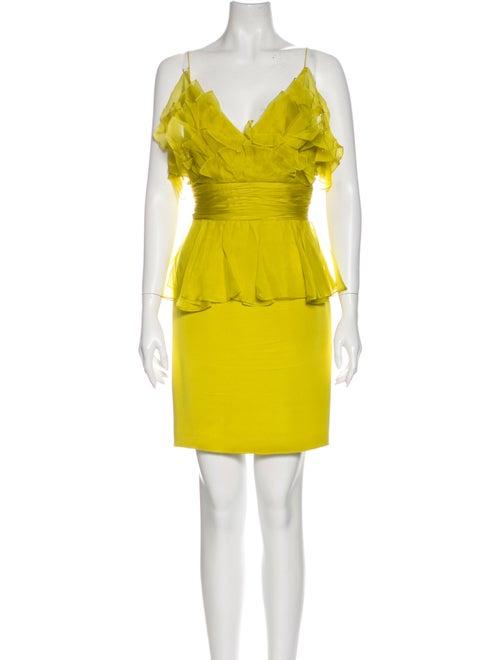 Marchesa Silk Mini Dress Green