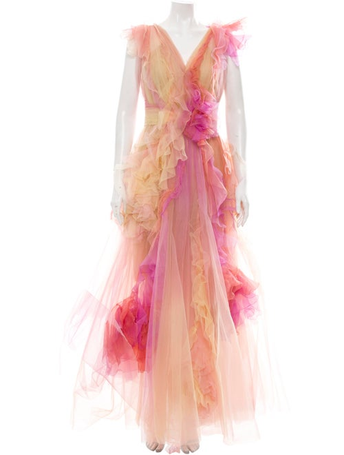 Marchesa 2019 Tulle Gown Yellow
