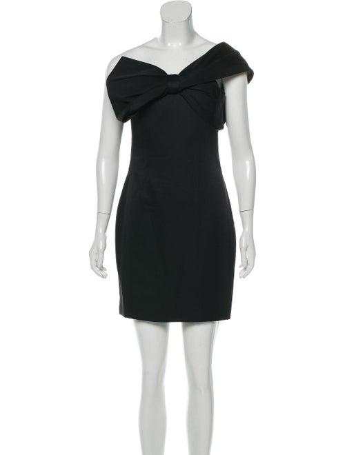 Marchesa One-Shoulder Silk Dress Black
