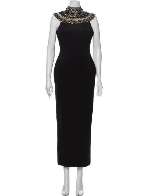 Marchesa Turtleneck Long Dress Black