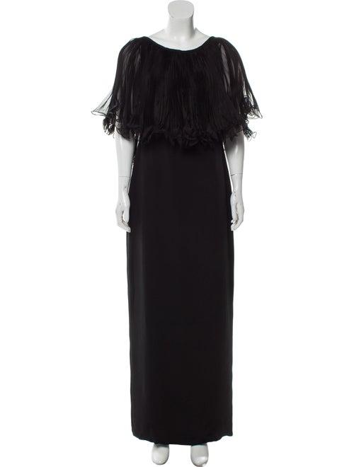 Marchesa Silk Maxi Dress Black