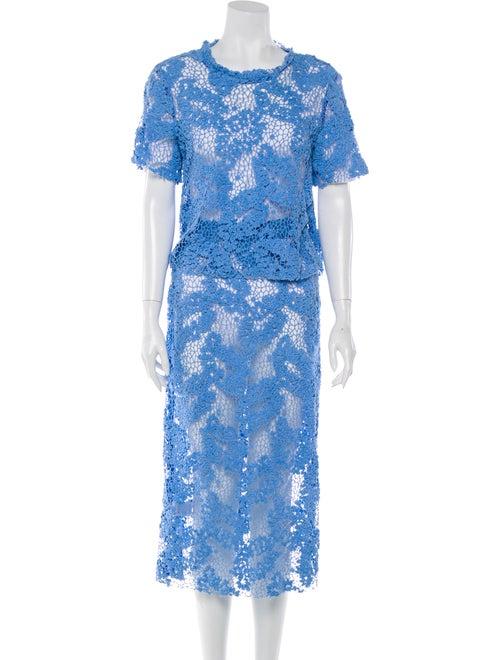 Macgraw Floral Print Lace Trim Embellishment Skirt
