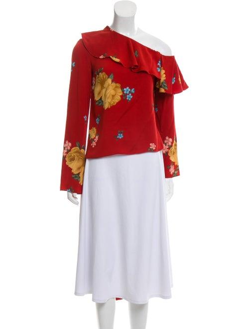 Magda Butrym Silk Floral Top Red