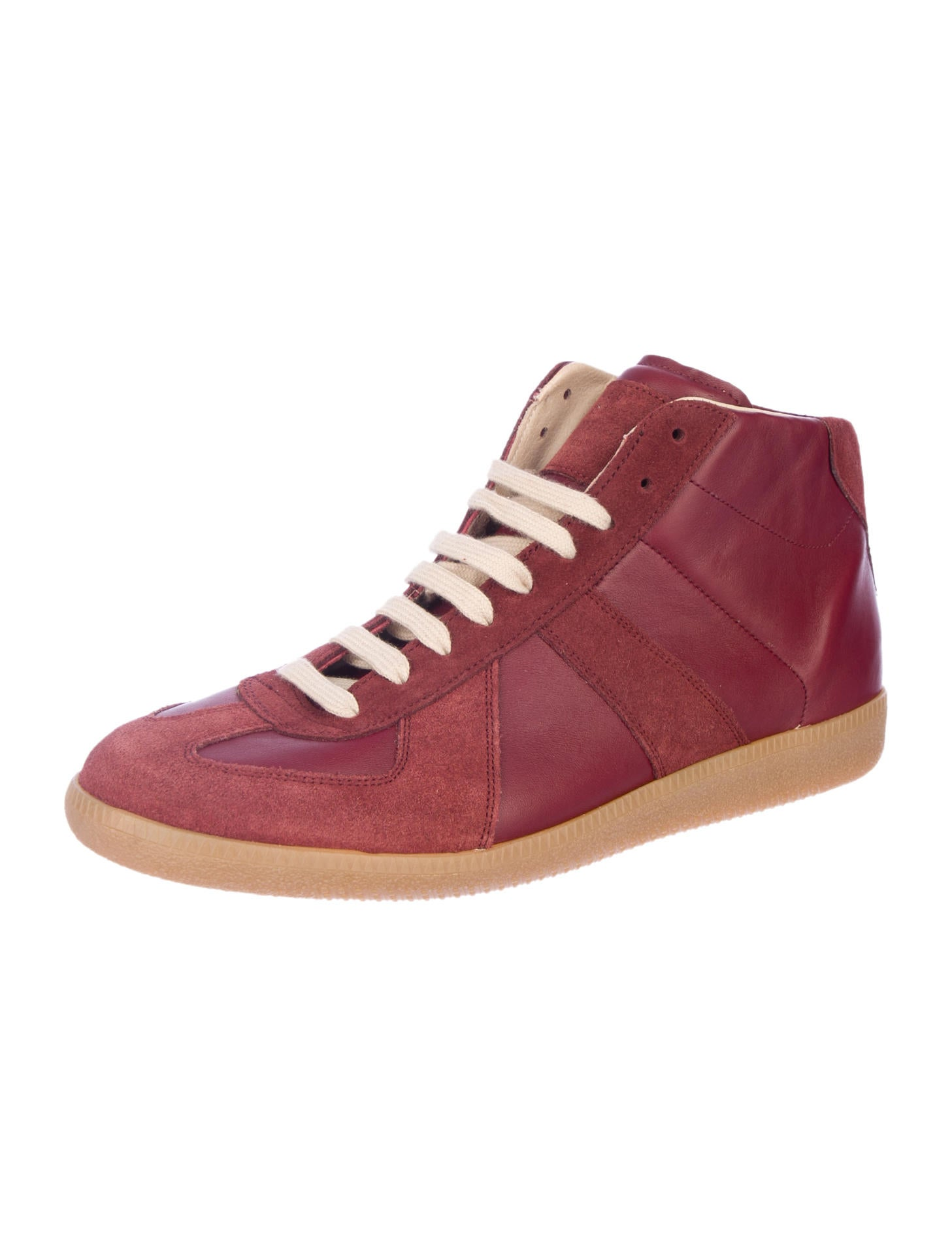 Maison martin margiela replica paneled high top sneakers for Replica maison martin margiela