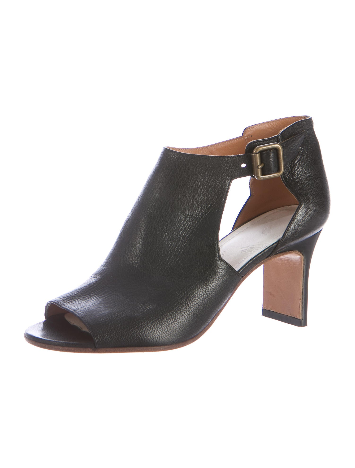 maison martin margiela cutout leather booties shoes. Black Bedroom Furniture Sets. Home Design Ideas
