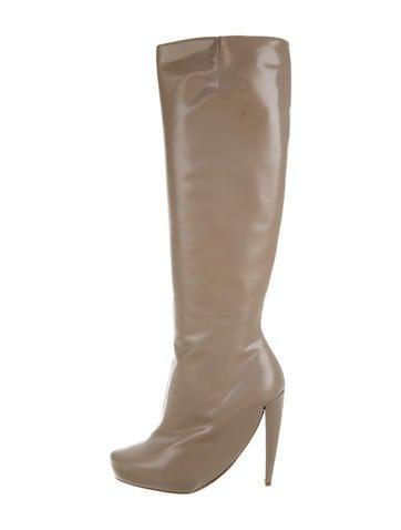 maison martin margiela leather knee high boots w tags