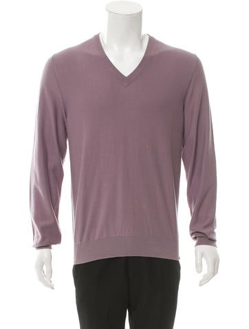 Maison Martin Margiela Suede-Trimmed V-Neck Sweater w/ Tags None