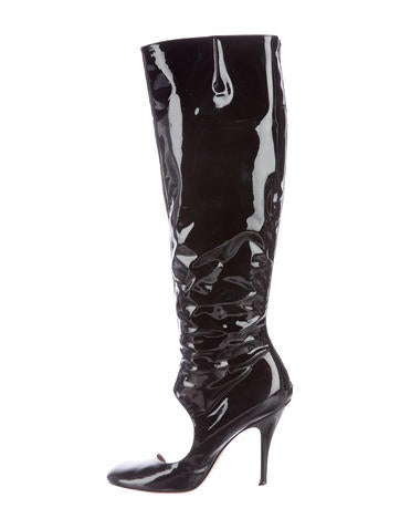 maison martin margiela cutout knee high boots shoes