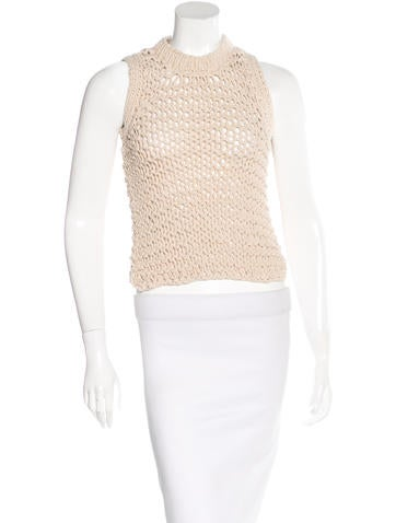 Maison Martin Margiela Open-Knit Sleeveless Top None