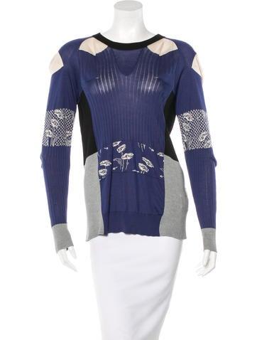 Maison Martin Margiela Tie-Accented Silk Sweater None