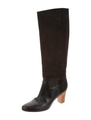 maison martin margiela suede knee high boots shoes