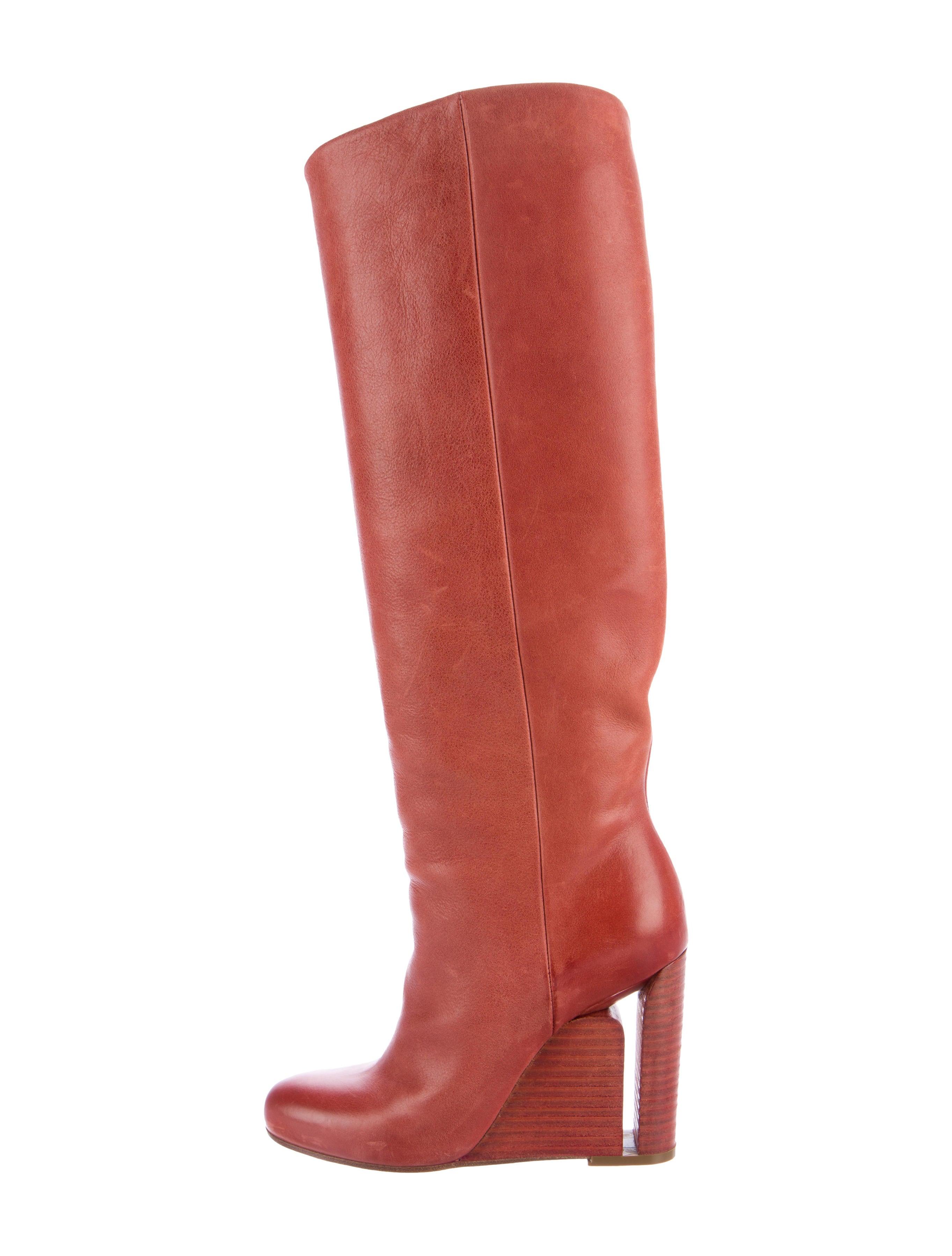 maison martin margiela leather knee high boots shoes
