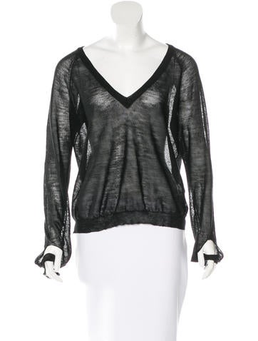 Maison Martin Margiela Sheer V-Neck Sweater None