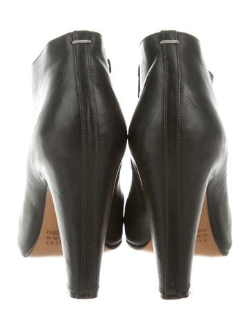 Maison Martin Margiela Leather Peep-Toe Boots