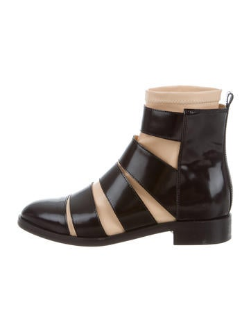 Maison Margiela Leather Cutout Ankle Boots None