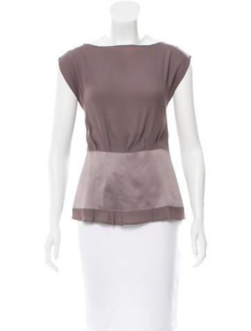 Maison Martin Margiela Silk-Trimmed Sleeveless Top None