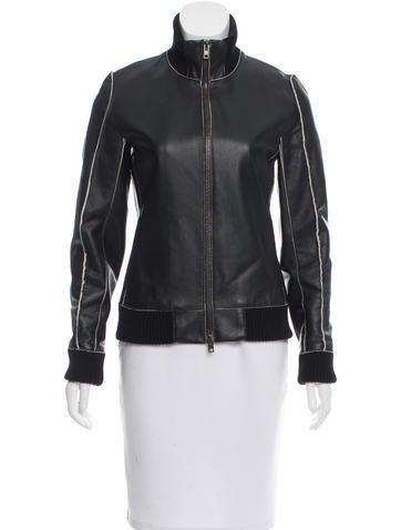 Maison Margiela Rib Knit-Trimmed Leather Jacket None