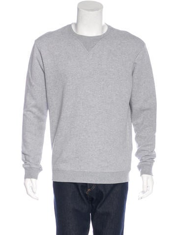 Maison Margiela Suede-Trimmed Crew Neck Sweater None